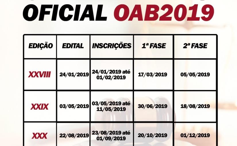 [SAIU] DATAS PARA EXAMES DA OAB DE2019